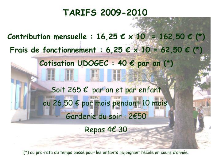 TARIFS 2009-2010