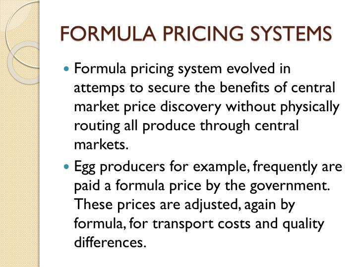 FORMULA PRICING SYSTEMS