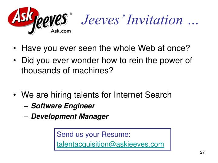 Jeeves' Invitation …
