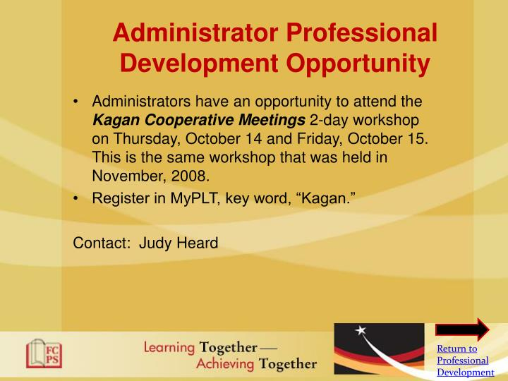 Administrator Professional Development Opportunity