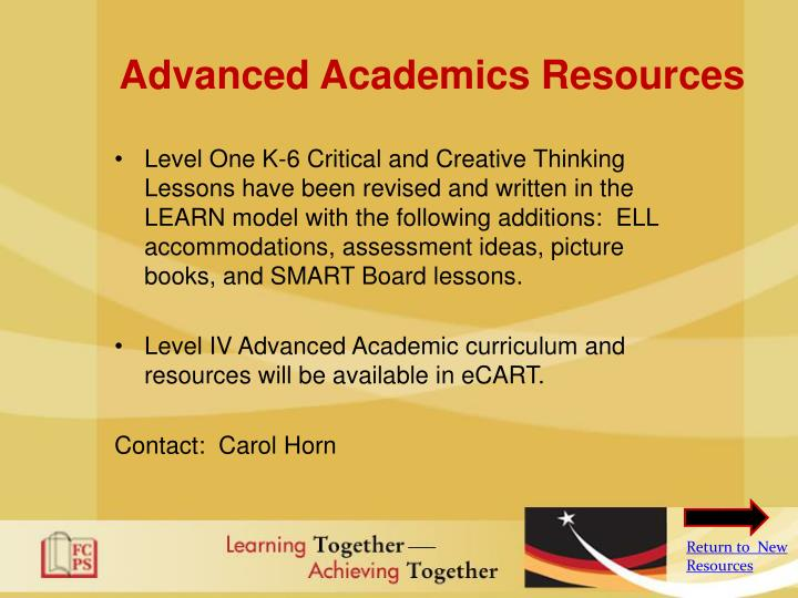 Advanced Academics Resources