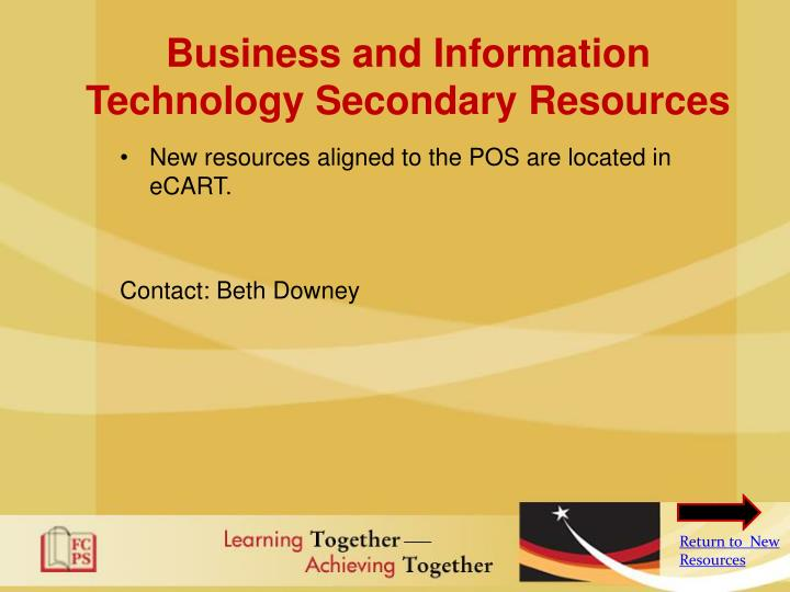 Business and Information Technology Secondary Resources