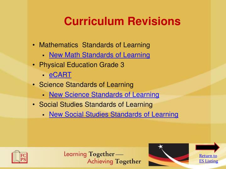 Curriculum Revisions
