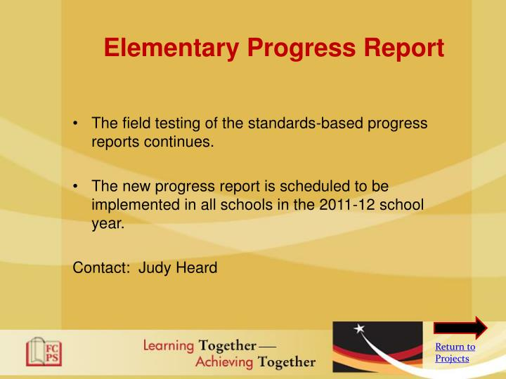Elementary Progress Report