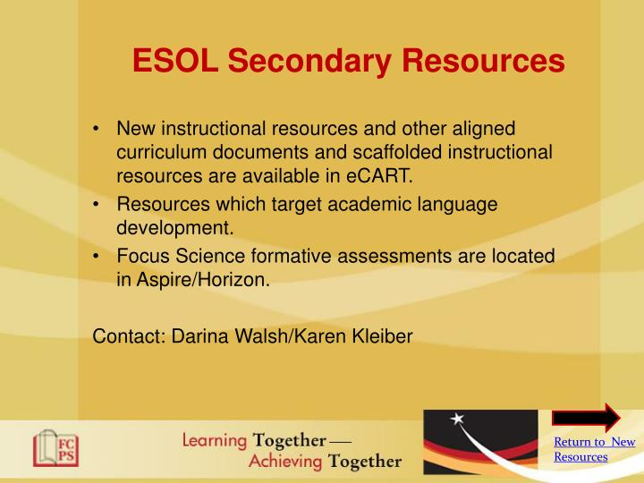 ESOL Secondary Resources