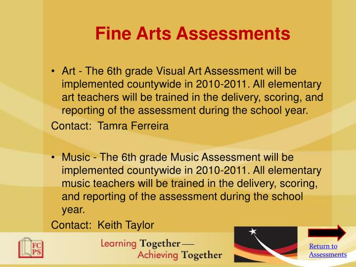 Fine Arts Assessments