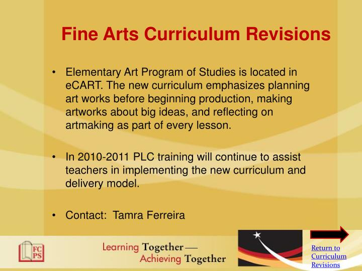 Fine Arts Curriculum Revisions