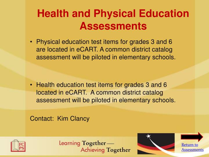 Health and Physical Education Assessments