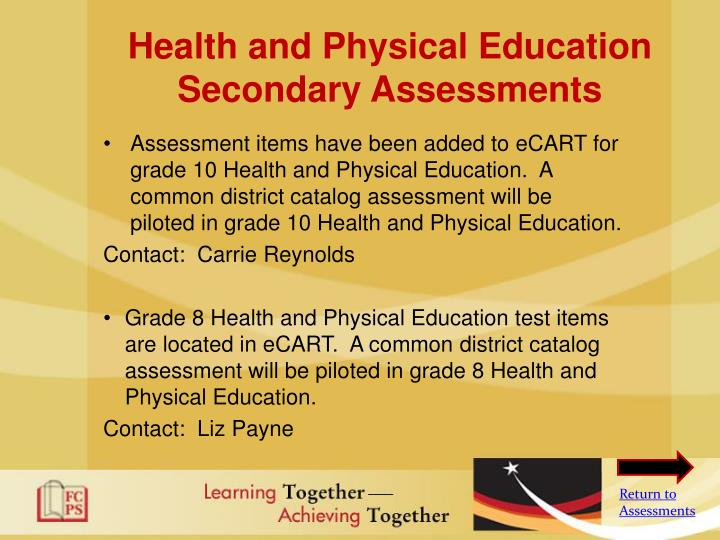 Health and Physical Education Secondary Assessments