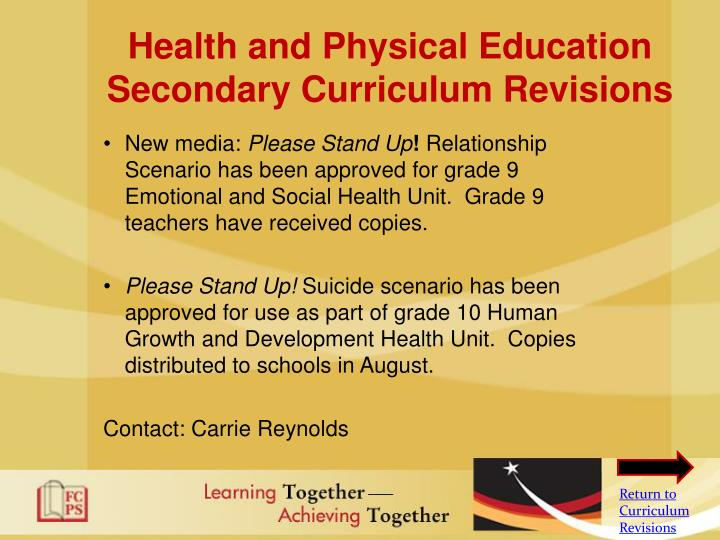 Health and Physical Education Secondary Curriculum Revisions