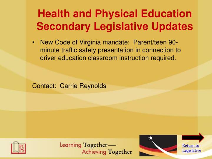 Health and Physical Education Secondary Legislative Updates