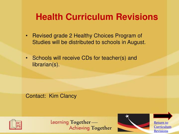 Health Curriculum Revisions