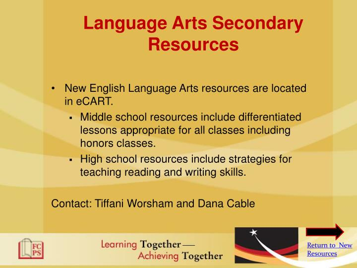 Language Arts Secondary Resources