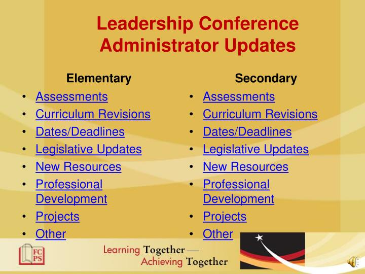 Leadership conference administrator updates1