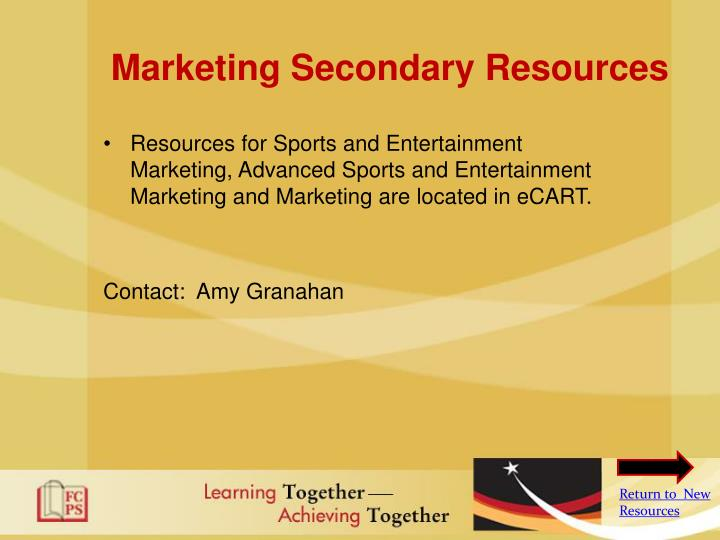 Marketing Secondary Resources
