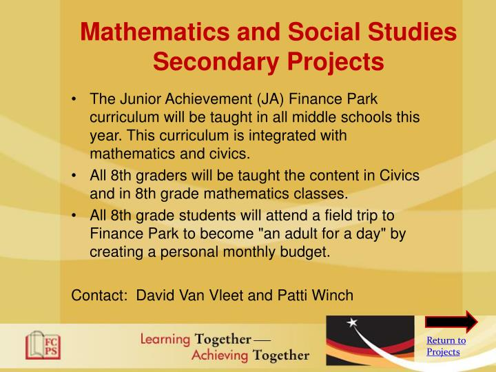Mathematics and Social Studies Secondary Projects