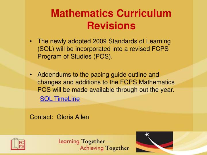 Mathematics Curriculum Revisions