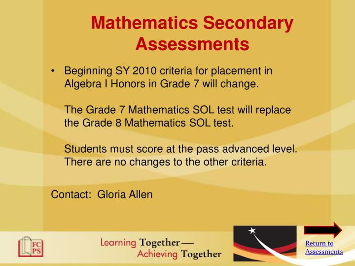 Mathematics Secondary Assessments