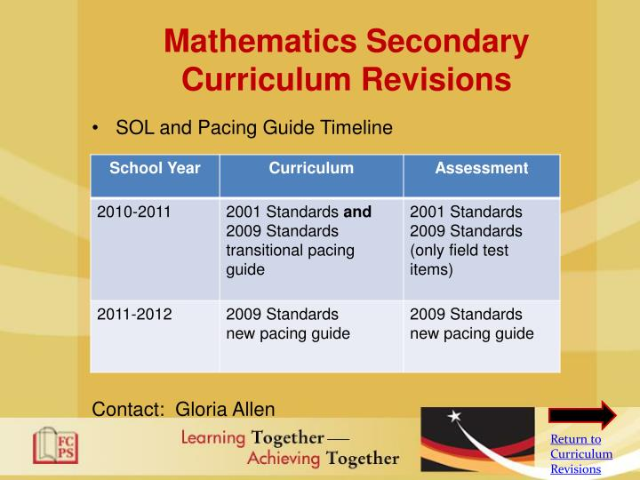 Mathematics Secondary Curriculum Revisions