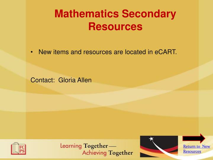 Mathematics Secondary Resources