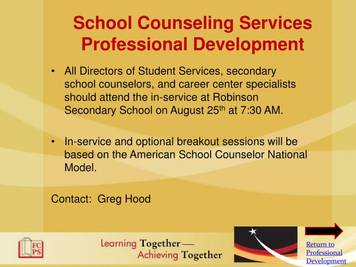 School Counseling Services Professional Development