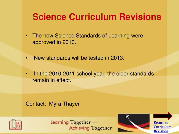 Science Curriculum Revisions