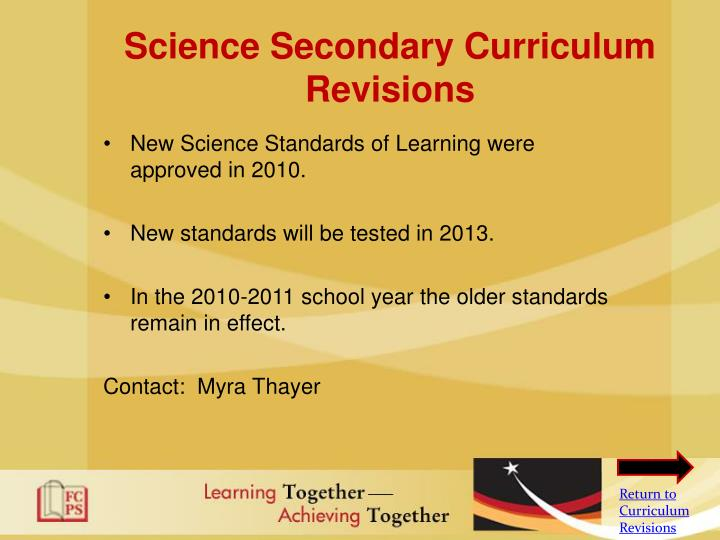 Science Secondary Curriculum Revisions