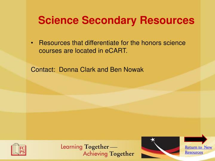 Science Secondary Resources