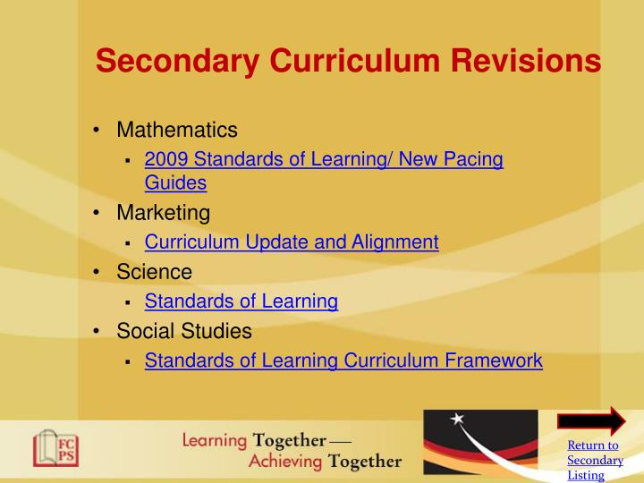 Secondary Curriculum Revisions