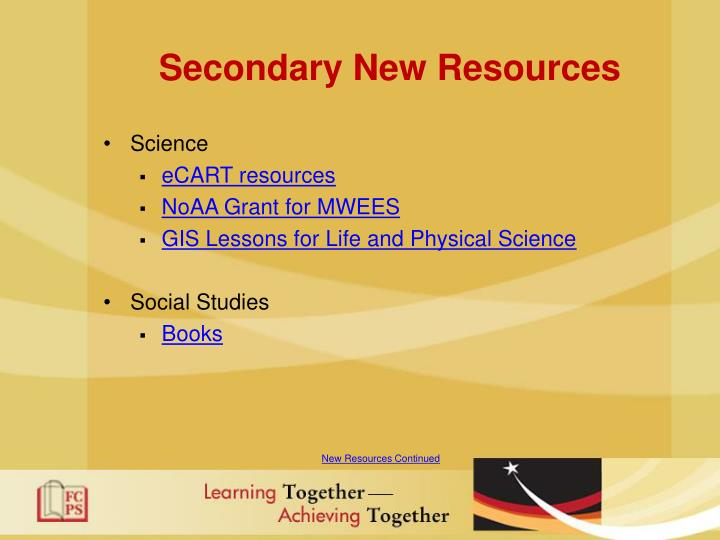 Secondary New Resources