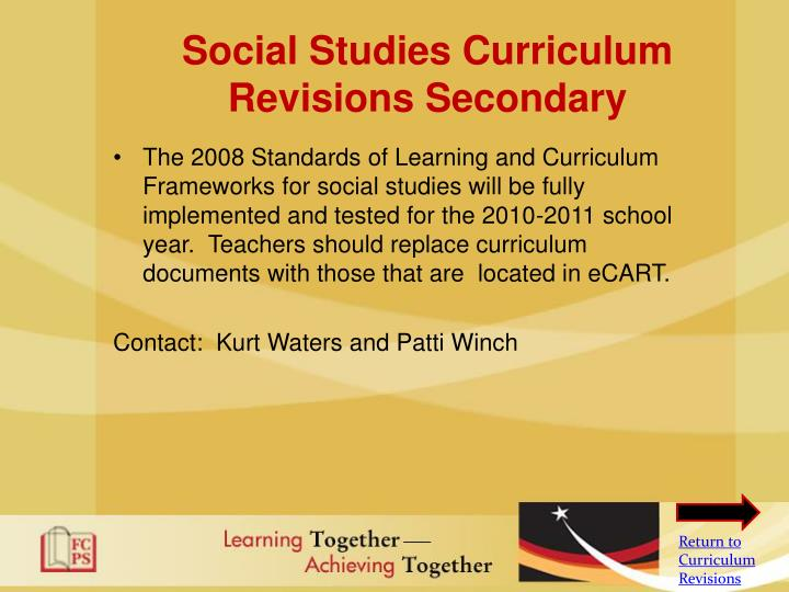 Social Studies Curriculum Revisions Secondary