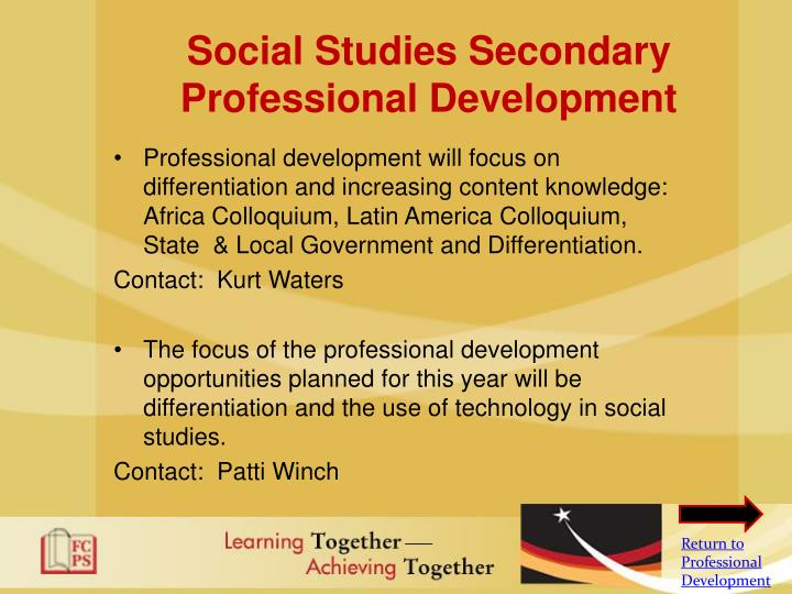 Social Studies Secondary Professional Development