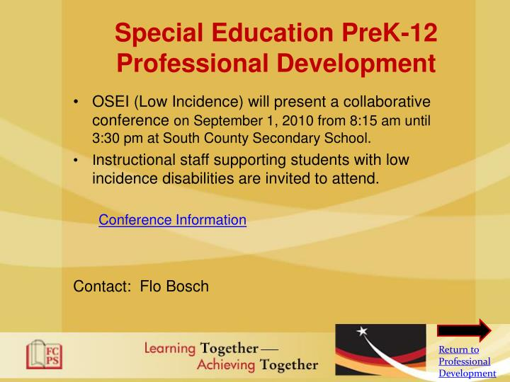 Special Education PreK-12 Professional Development