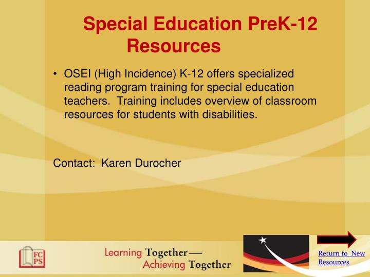 Special Education PreK-12 Resources