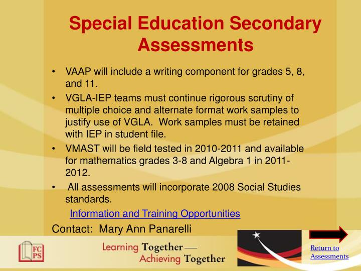 Special Education Secondary Assessments