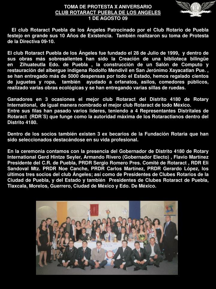 TOMA DE PROTESTA X ANIVERSARIO