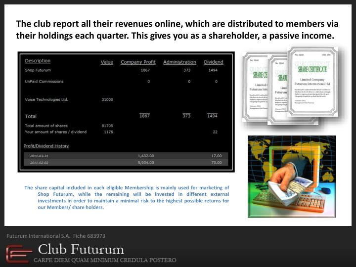 The club report all their revenues online, which are distributed to members via  their holdings each quarter. This gives you as a shareholder, a passive income.