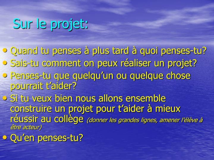 Sur le projet: