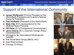 support of the international community