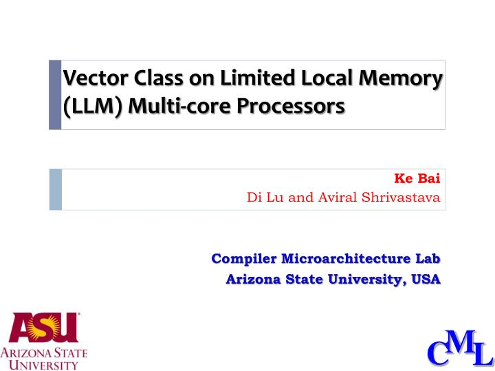 Vector class on limited local memory llm multi core processors