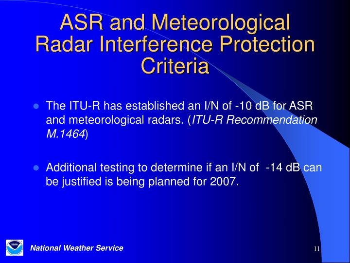 ASR and Meteorological Radar Interference Protection Criteria
