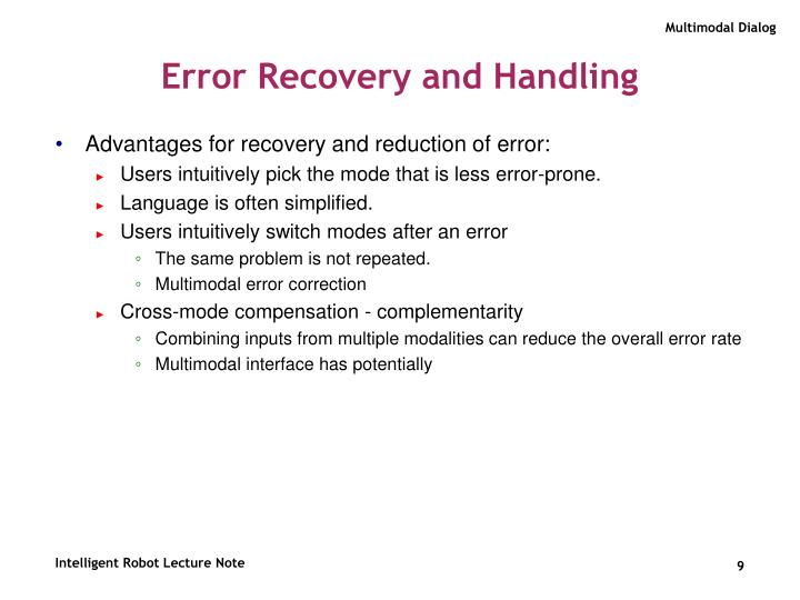 Error Recovery and Handling