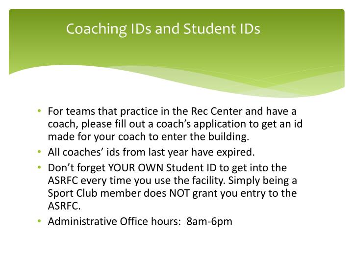 Coaching IDs and Student IDs