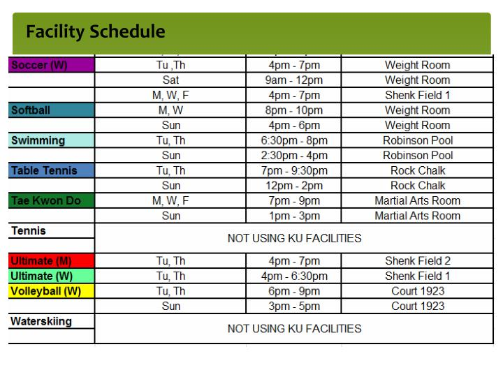 Facility Schedule
