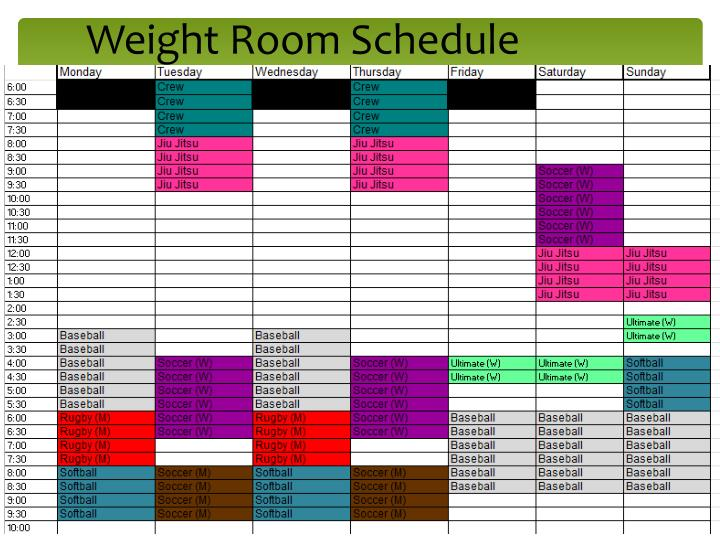 Weight room schedule