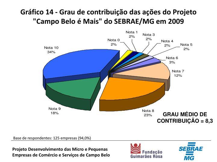 """Gráfico 14 - Grau de contribuição das ações do Projeto """"Campo Belo é Mais"""" do SEBRAE/MG em 2009"""