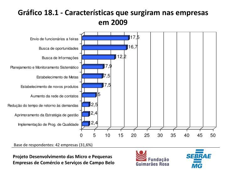 Gráfico 18.1 - Características que surgiram nas empresas em 2009