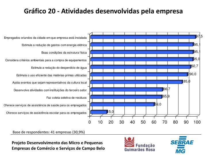 Gráfico 20 - Atividades desenvolvidas pela empresa