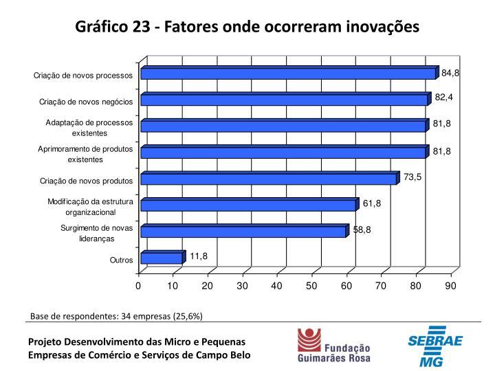 Gráfico 23 - Fatores onde ocorreram inovações