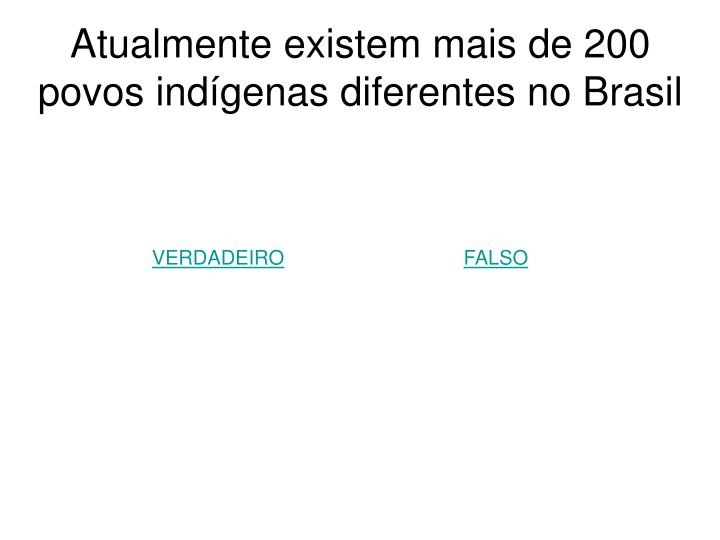 Atualmente existem mais de 200 povos indígenas diferentes no Brasil